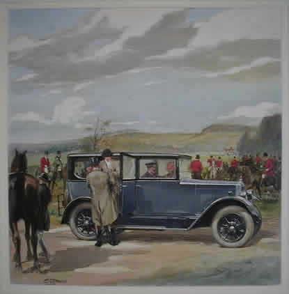 Fred Steerwood - original painting for the front cover of The Autocar 11th February 1927 advertising the 15.9 hp Morris Oxford Saloon